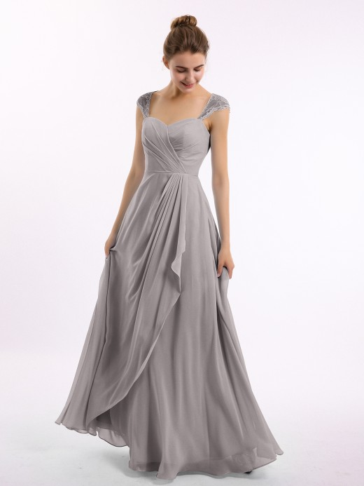 Babaroni Marley Long Chiffon Bridesmaid Gown with Lace Cap Sleeves