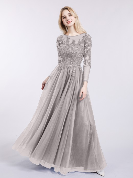Babaroni Martha Long Sleeves Tulle Dresses with Appliqued