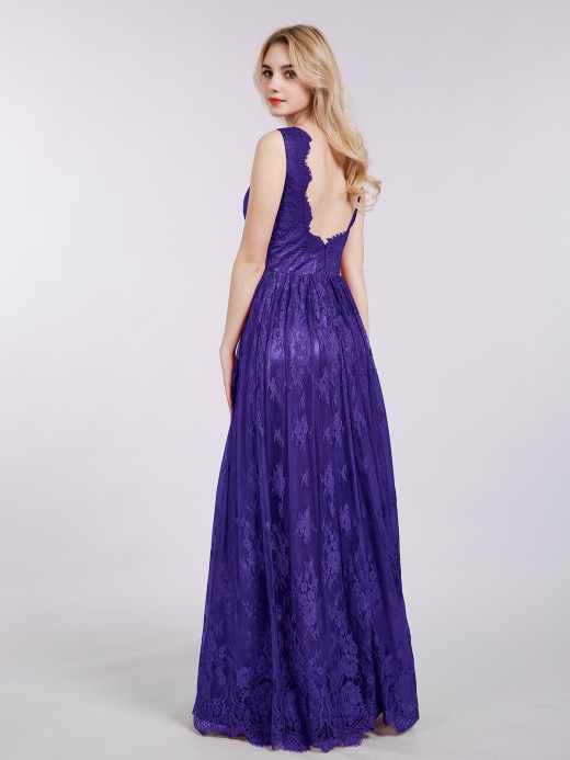 Babaroni Mavis V-neck Long Lace Prom Dresses