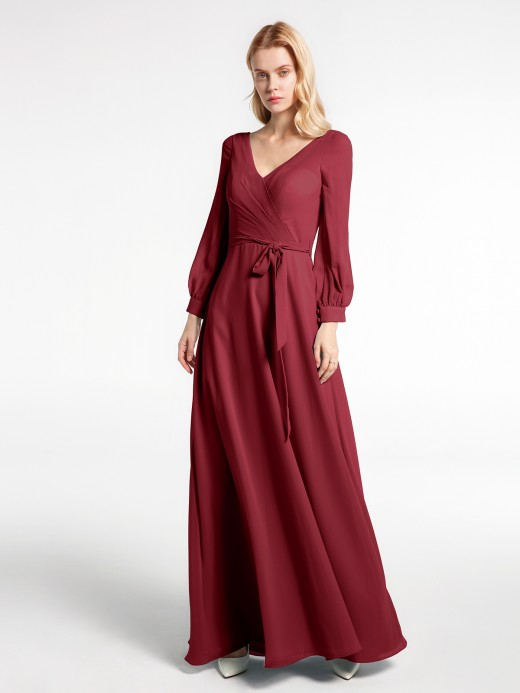 Babaroni Maxine Bishop Sleeves Chiffon V-neck Dress with Bow