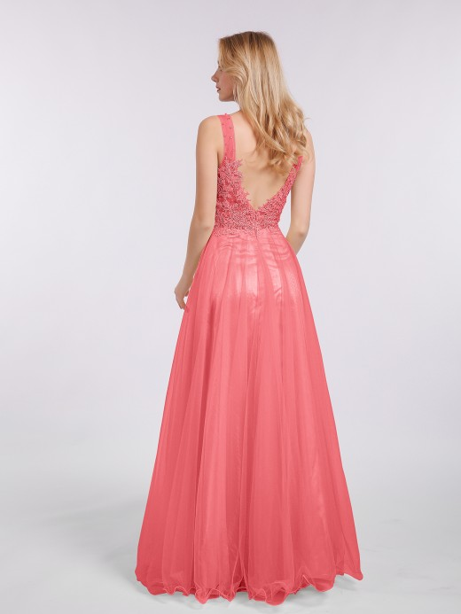 Babaroni Megan Lace See Through with Beaded Bodice Gowns