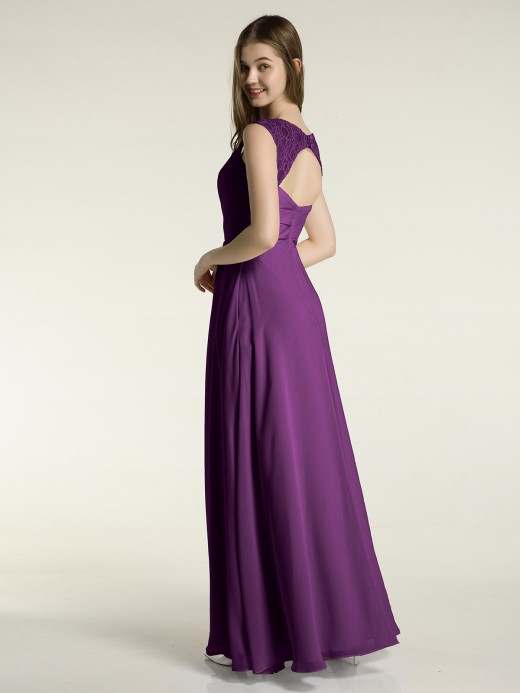 Babaroni Merry Lace Strap V Neckline Chiffon Bridesmaid Dress