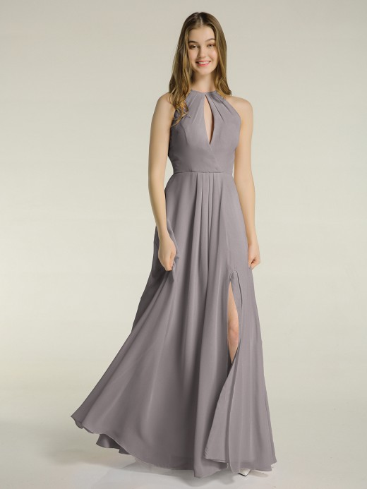 Babaroni Michaela Simple Chiffon Halter Dress for Bridesmaid with Slit