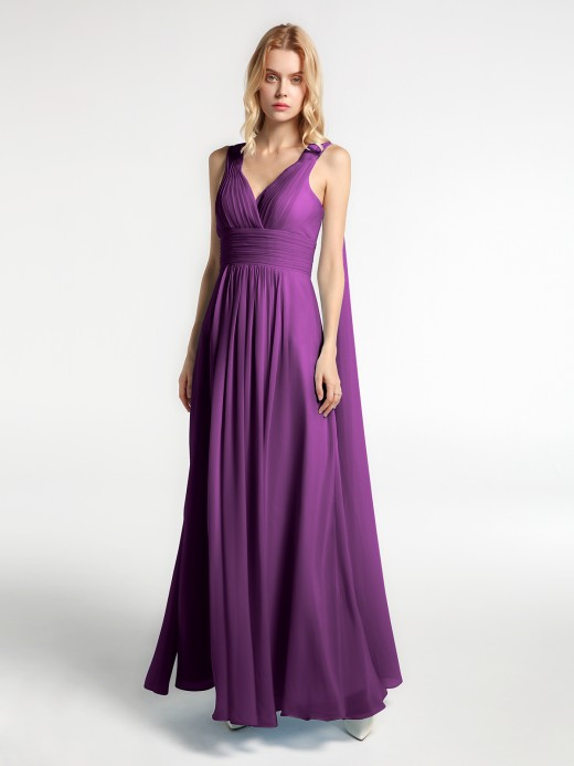 Babaroni Michelle V Neck Chiffon Dress with Streamer at Back Strap