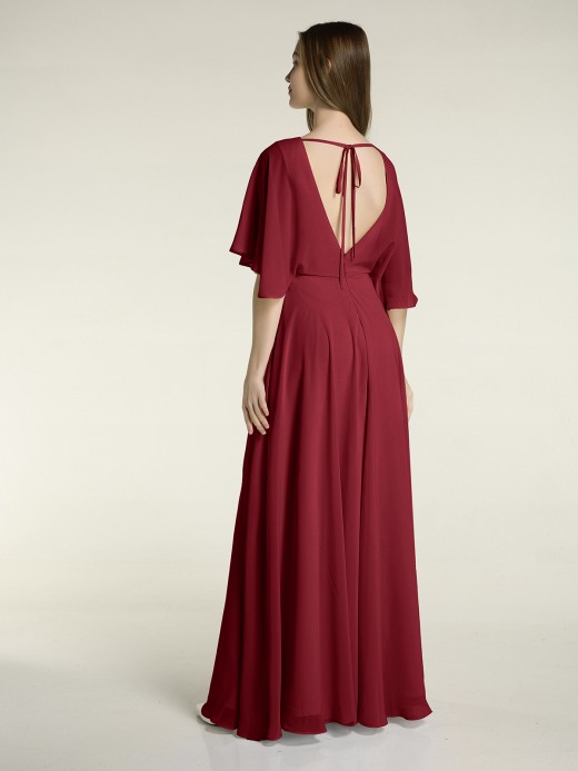 Babaroni Mignon Long Chiffon Bridesmaid Dress with Flutter Sleeves
