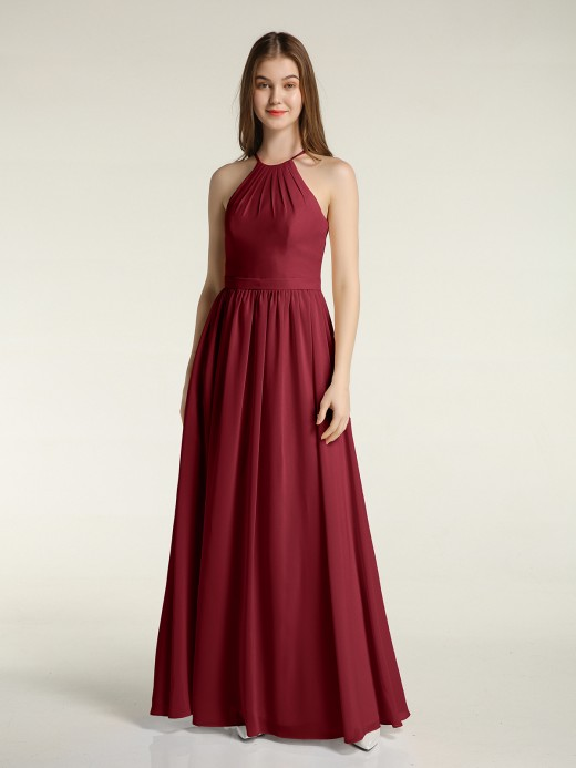 Babaroni Miriam Chiffon Long Bridesmaid Gown with Halter Neck