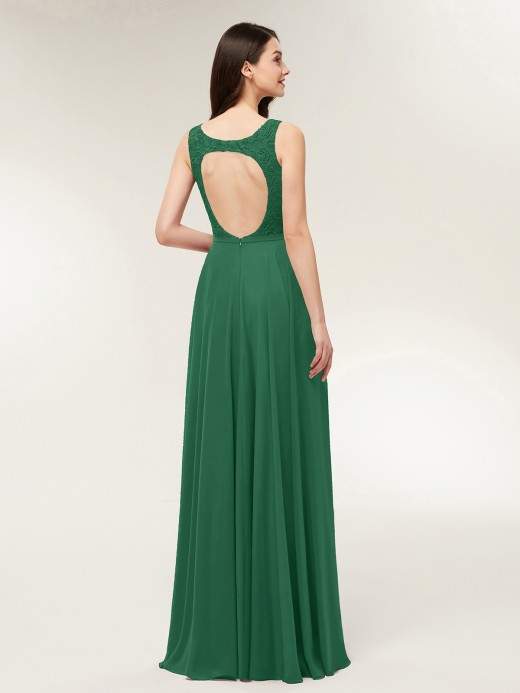 Babaroni Modesty Lace and Chiffon Dresses with Open Back