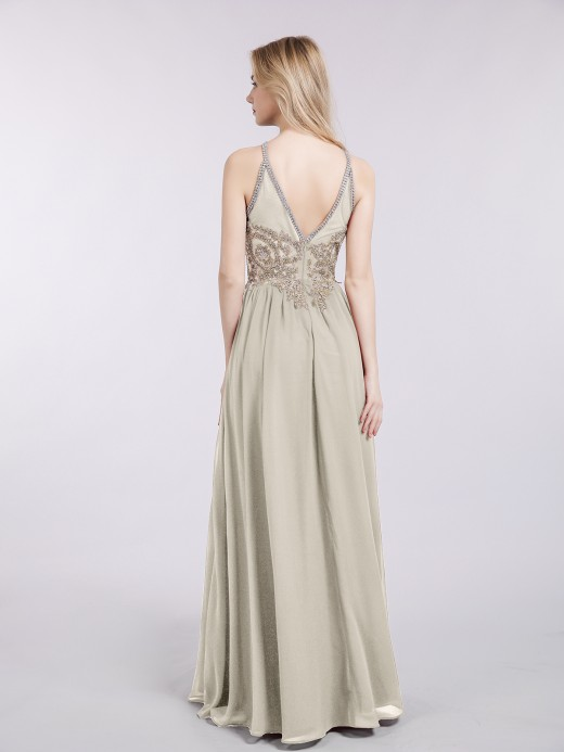 Babaroni Moira Gold Lace Appliqued Long Chiffon Dresses
