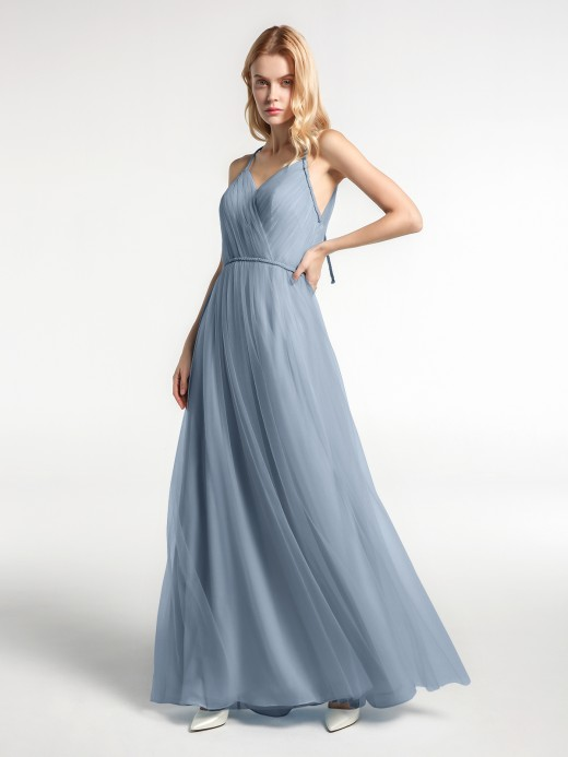 Babaroni Molly Twist Straps V Neckline Tulle Maxi Dress