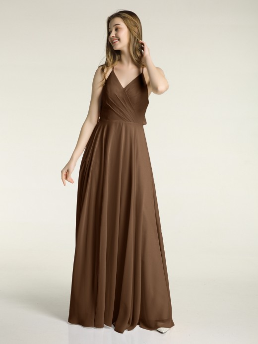 Babaroni Monica V-neck Bridesmaid Dress with Cross Back