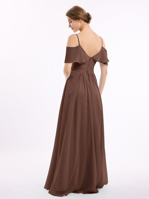 Babaroni Nana Full-length Spaghetti Strap Off Shoulder Chiffon Gown