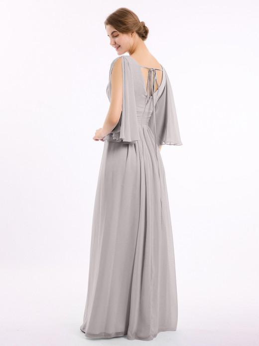 Babaroni Nelly Long Queen's Gown Chiffon Dress with Slit and V Neck
