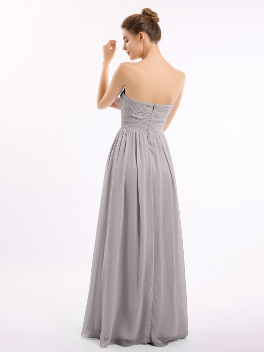 Babaroni Nicole Strapless Long Chiffon Gown with Pleated Bodice