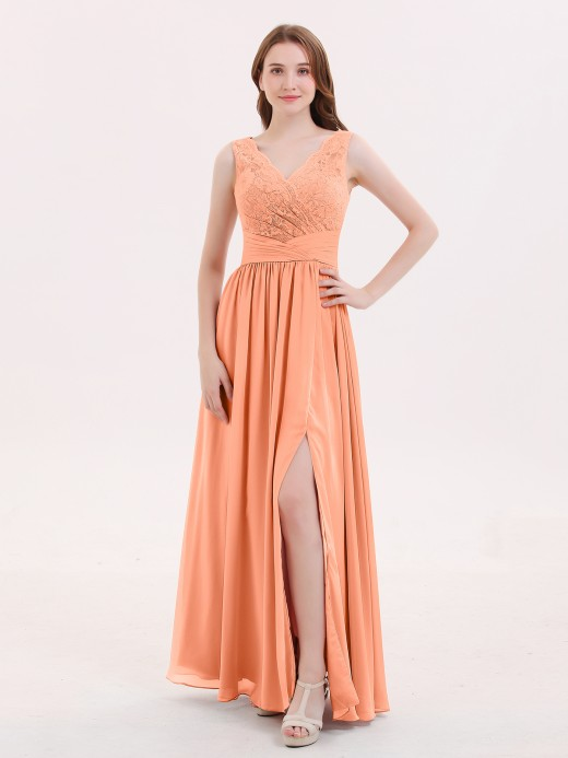 Babaroni Novia Lace and Chiffon v-NECK Dress with Slit