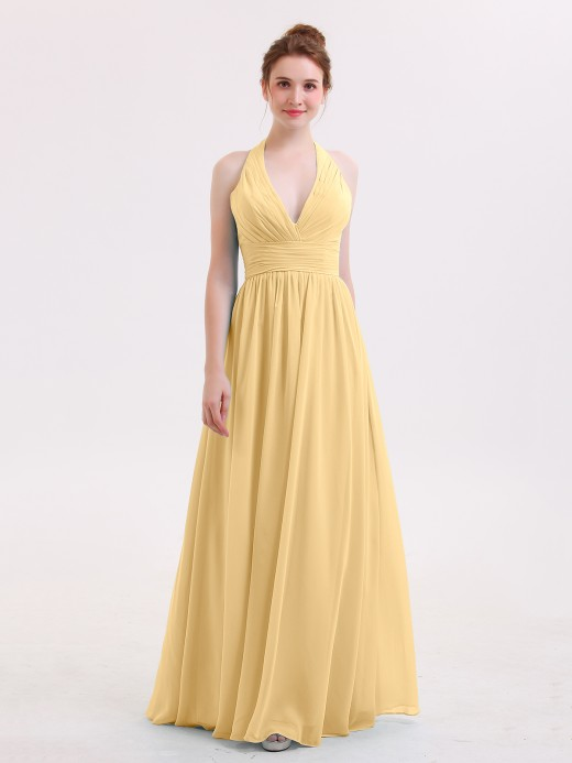 Babaroni Nydia Long Chiffon Dresses with V Neckline