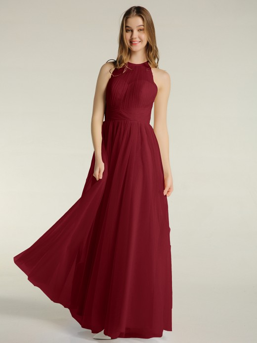 Babaroni Odelia Halter Full Length Tulle Bridesmaid Dress