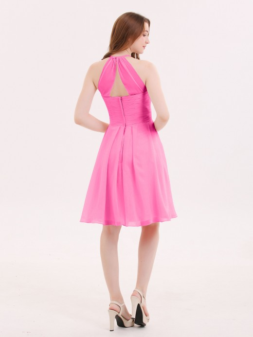 Babaroni Olga Halter Chiffon Short Dresses With Pocket
