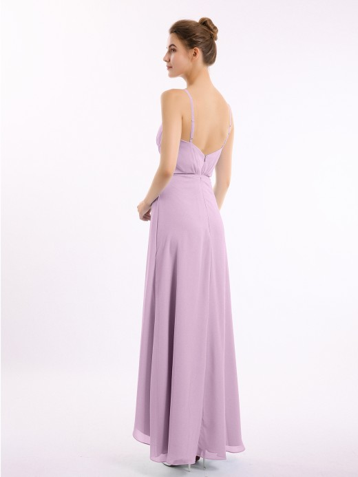 Babaroni Olive Spaghetti Strap Chiffon Gown with Asymmetrical Hems