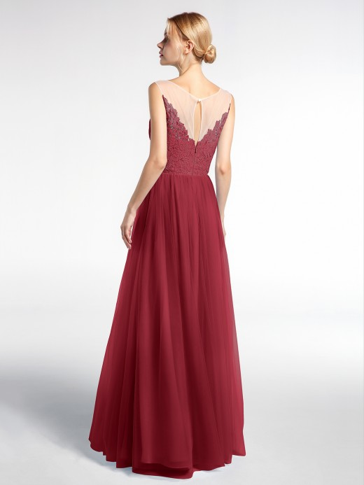 Babaroni Pamela Illusion Neckline Lace and Tulle Long Dress