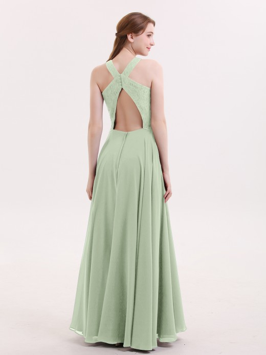 Babaroni Pandora Open Back Chiffon and Lace Sexy Gowns