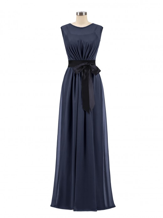 Babaroni Patricia FAUX-WRAP CHIFFON DRESS WITH BLACK Sash
