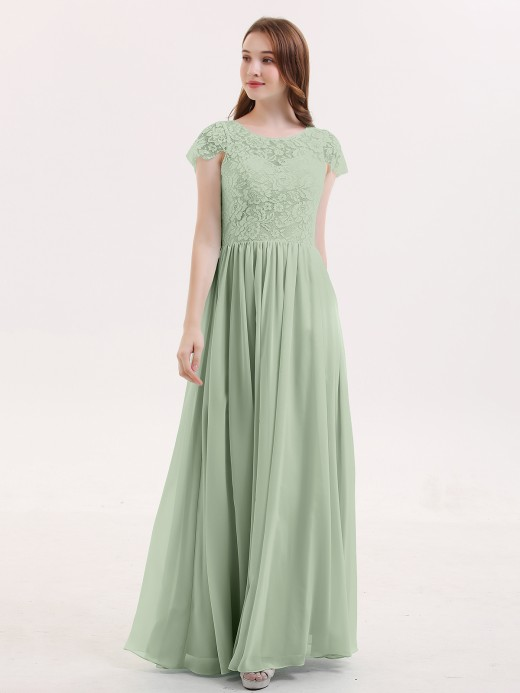 Pearl Cap Sleeves Long Dresses with Lace Bodice UK12