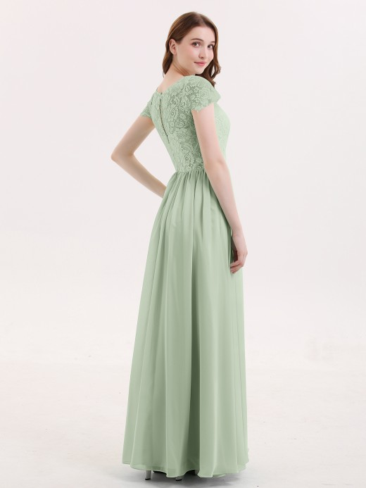 Pearl Cap Sleeves Long Dresses with Lace Bodice UK14