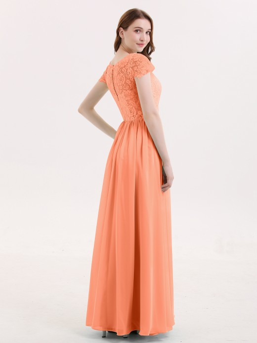 Babaroni Pearl Cap Sleeves Long Dresses with Lace Bodice
