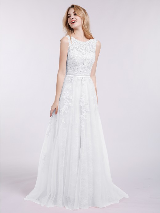 Babaroni Penny Tulle with Lace Appliqued Long Dresses