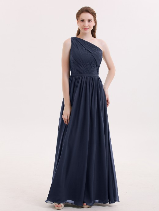 Babaroni Phoenix One Shoulder Chiffon Dress for Bridesmaids