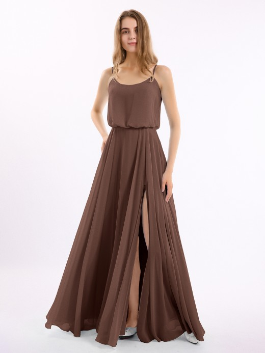 Babaroni Polly Long Spaghetti Strap Chiffon Gown Scoop Neck High Slit