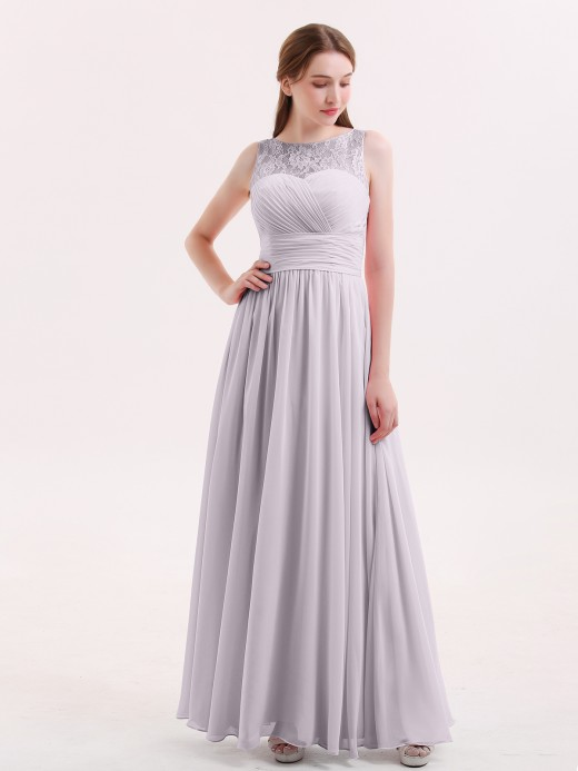 Babaroni Poppy Full Length Dress with ILLusion NECK