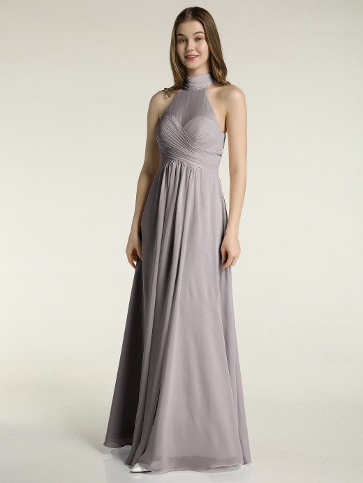 Babaroni Prima Illusion High Neck Chiffon Bridesmaid Gown