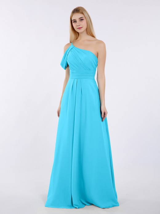 Babaroni Prudence Princess One Shoulder Chiffon Bridesmaid Dresses
