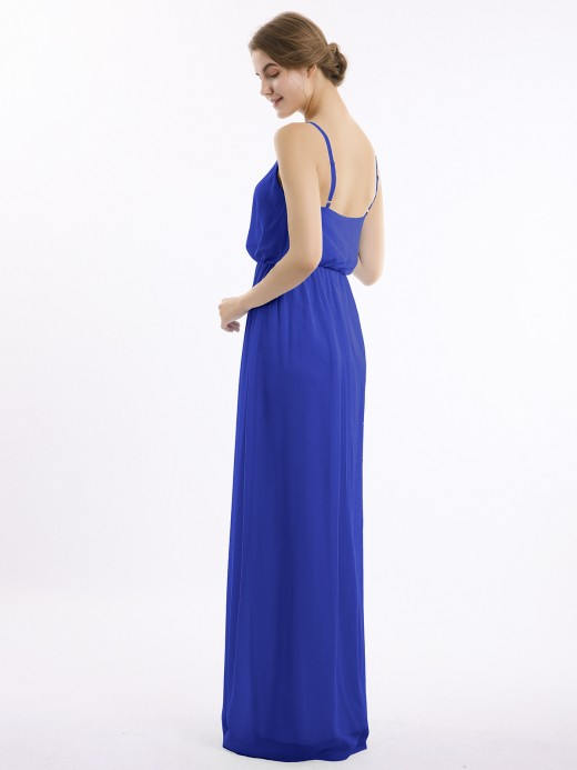 Babaroni Regina Spaghetti Strap Chiffon Bridesmaid Gown with V Neck