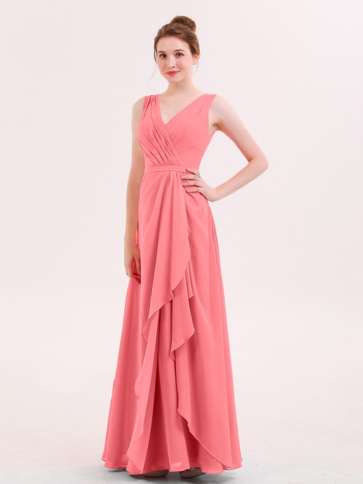 Babaroni Rita A-line Chiffon Open Back Dress With V-Neck
