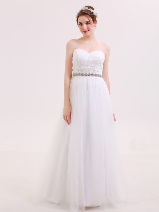 Babaroni Roberta Sweethart Neck Wedding Dresses with BEADED Sash