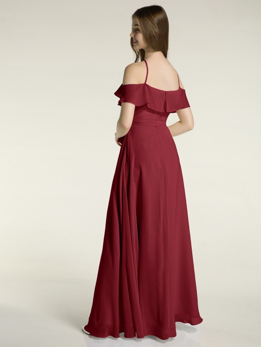 Babaroni Rosa Y Neck Chiffon Dress with Ruffles Sleeves