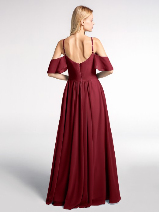 Babaroni Sabrina Cold-Shoulder Chiffon Empire Gown with Pockets