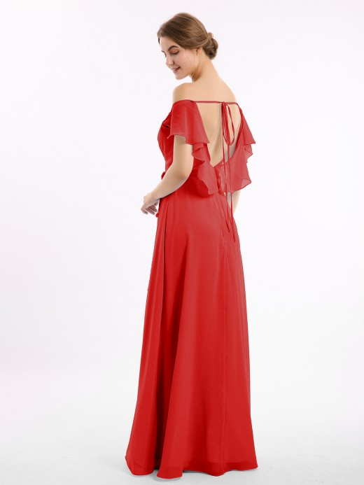 Babaroni Sally Chiffon Bridesmaid Gown with Slit and Cap Sleeves