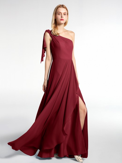 Babaroni Salome One Shoulder Chiffon Maxi Dress with Cascade Skirt