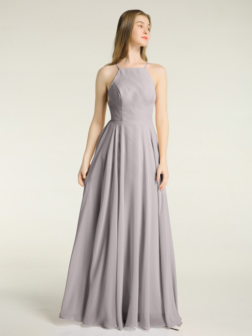 Babaroni Sandra Simple Chiffon Bridesmaid Dress with Square Neck