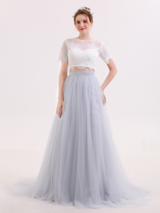 Babaroni Sara Lace and Tulle Two Piece Wedding Dresses