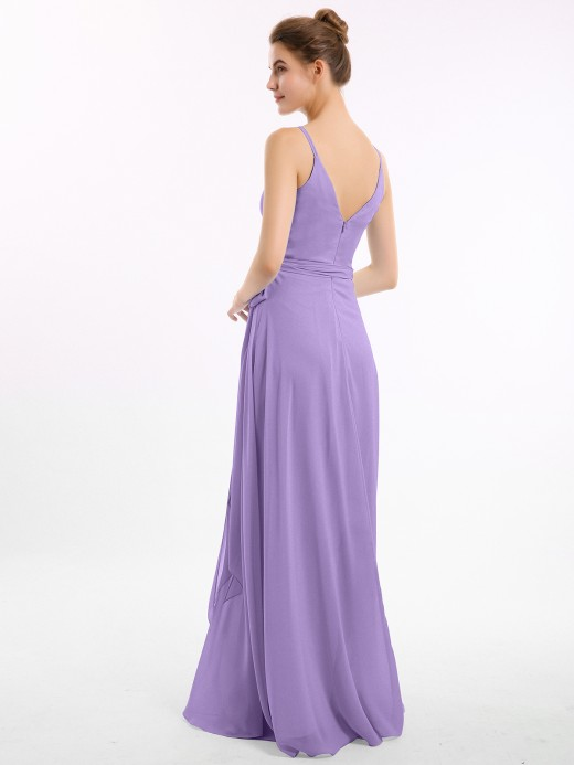 Babaroni Sasha Long Spaghetti Strap Chiffon Bridesmaid Dress