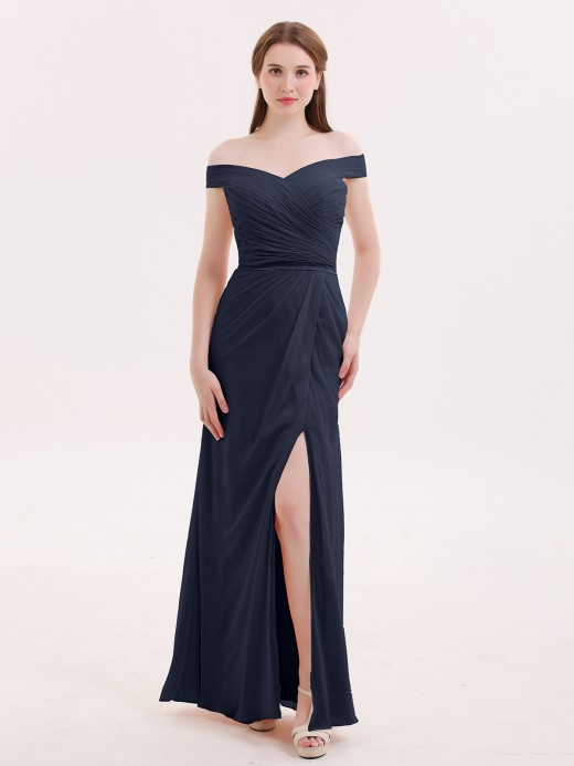 Babaroni Sebastiane Sheath Off Shoulder Dresses with Slit