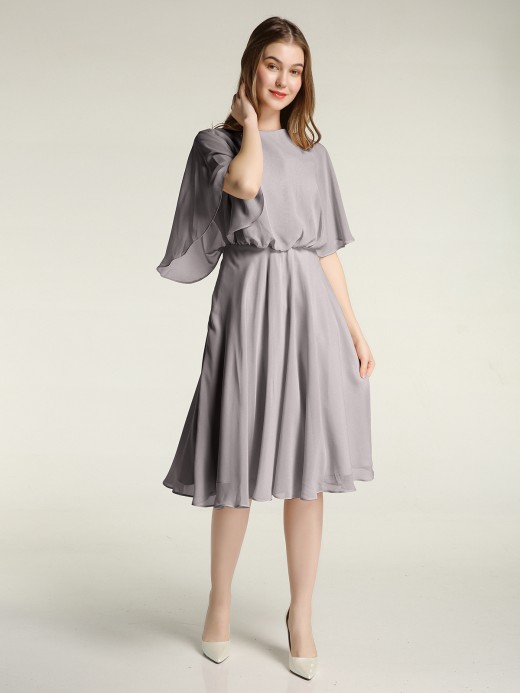 Babaroni Selena Short Chiffon Bridesmaid Dress with Flutter Sleeves