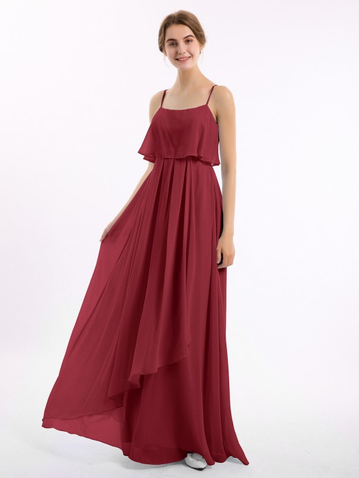 Babaroni Setlla Chiffon Gown with Spaghetti Straps and Cascade Skirt