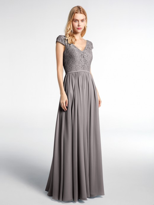 Babaroni Sherry Lace and Chiffon Maxi Cap Sleeves Dress
