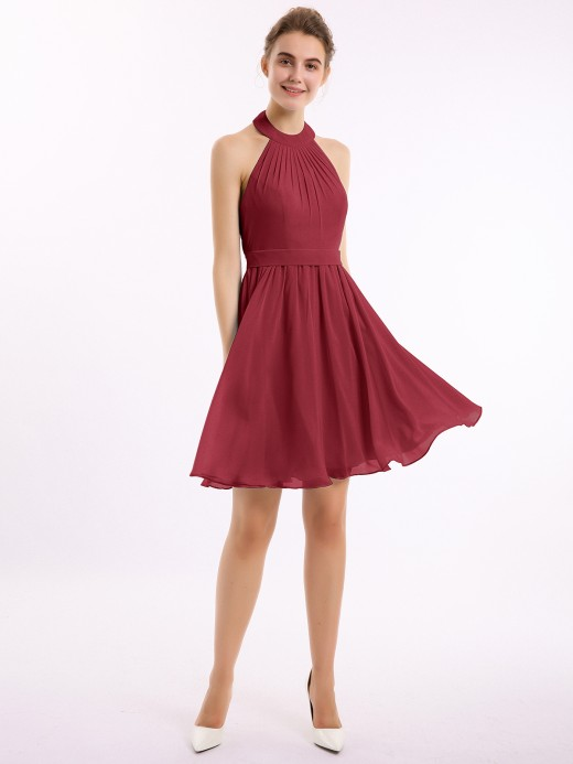 Babaroni Sylvia Knee-length Short Chiffon Dress with Halter Neck