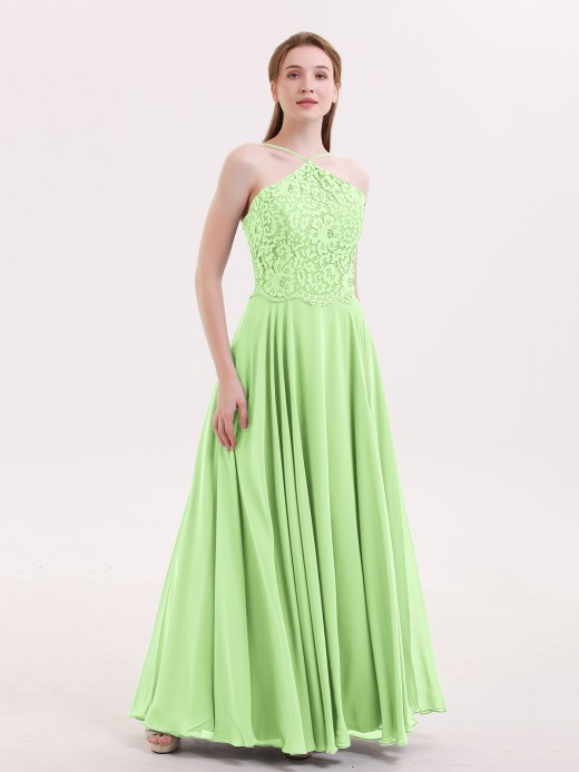 Babaroni Tallulah Long Chiffon Dress With Lace Bodice